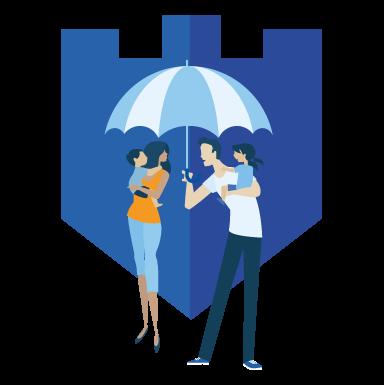 Man shielding family from rain